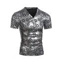 Unique Floral Pattern Metallic Color V-Neck Button Patched Short Sleeve Men's Slim Fit T-Shirt