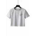 Trendy Chic Star Hand Pattern Grey Short Sleeve Cropped T-Shirt