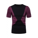 Men's Fashion Colorblock Round Neck Short Sleeve Slim Fit Casual T-Shirt
