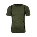 Men's Stylish Tape Patched Round Neck Short Sleeve Plain Casual Tee