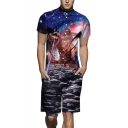 Summer New Trendy Galaxy Dinosaur Printed Lapel Collar Short Sleeve Mens Button-Down Blue Rompers Coveralls