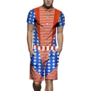Mens New Stylish Striped Star Flag Printed Short Sleeve Button Down Slim Work Rompers Coveralls