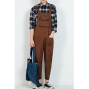 Guys New Fashion Hip Hop Style Rolled Cuff Solid Color One Piece Suspender Overalls
