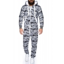 Mens New Stylish Camo Printed Long Sleeve Hooded Zip Up Loose Casual Lounge Jumpsuits