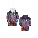 League of Legends Series Funny 3D Game Figure Print Long Sleeve Relaxed Fit Purple Pullover Hoodie