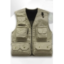 Mens Outdoor Fashion Multi-Pocket Photographer Vest Casual Fishing Mesh Jacket Vest