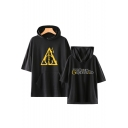 The Crimes of Grindelwald 2 Fashion Letter Logo Printed Short Sleeve Unisex Loose Casual Hooded T-shirt