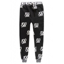 Stylish Allover 100 Emoji Printed Drawstring Waist Unisex Casual Black Sweatpants