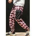 Guys Street Fashion Plaid Print Drawstring Waist Elastic-Cuff Cotton Casual Cargo Pants