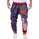 New Stylish Cool Letter USA American Flag Print Drawstring Waist Casual Sweatpants for Guys
