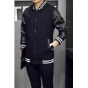 Basic Simple Stand-Up Collar Long Sleeve PU Panelled Buttons Down Black Baseball Jacket