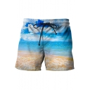 Summer Blue Sky 3D Printed Drawstring Waist Men's Beach Casual Swim Shorts