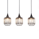 Kitchen Pendant Lights Black, 3 Lights Clear Crystal Pendant Lighting with 47