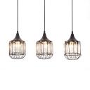 Kitchen Pendant Lights Black, 3 Lights Clear Crystal Pendant Lighting with 47