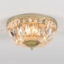 Dome Shape Bedroom Flush Mount Clear Crystal 3-Light Vintage Style Ceiling Lighting, 6.5
