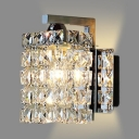 Rectangular Bathroom Wall Mount Light Fixture Clear Crystal 1 Light Vintage Style Sconce Lighting, H6