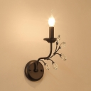 Contemporary Style Black Sconce Light with Candle and Clear Crystal 1 Light Iron Wall Lamp, 5