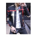 Unique Colorful Stripe Printed Stand-Collar Long Sleeve Zip Up Jacket for Guys