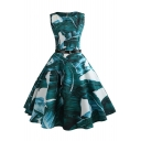 Retro Tropical Printed Sleeveless Midi A-Line Flared Green Dress with Belt
