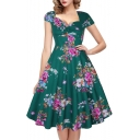 Elegant Vintage Style Floral Printed Short Sleeve Green Midi Flare Dress
