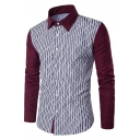 Mens Fashion Striped Printed Long Sleeve Color Block Casual Fitted Button-Up Cotton Shirts
