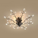 4 Lights Semi Flush Mount Lighting with Clear Crystal Decoration Vintage Ceiling Light Fixture in Black/White