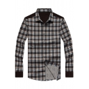 Mens Fashionable Casual Plaid Printed Long Sleeve Coffee Button-Up Cotton Shirt