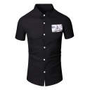 Men's New Stylish Applique Patched Short Sleeve Slim Fit Button-Front Shirt