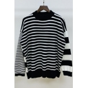 Classic Fashion Stripe Printed Crewneck Long Sleeve Pullover Loose Fit Sweater