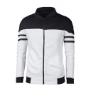 Mens Color Block Stand Collar Tape Patched Long Sleeve Zip Up Fitted Jacket