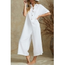 Summer New Trendy Solid Color Button-Front Wide-Leg Linen Casual Jumpsuits