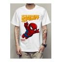 Funny Cartoon Spider Man Letter SUPER SPIDEY Printed White Short Sleeve T-Shirt