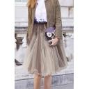 Fashion Elastic Waist Solid Midi A-Line Pleated Organza Mesh-Gauze Skirt