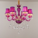 Height Adjustable Tapered Chandelier Dining Room 6 Lights Kids Hanging Pendant with 12