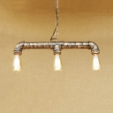 Industrial Pipe Island Lamp 3 Lights Metal Brass Island Pendants with 31.5
