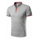 Mens New Stylish Contrast Trim Stand-Collar Sport Casual Polo Shirt