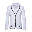 Fashionable Contrast Edge Lapel Collar Long Sleeve Double Button Front Mens Blazer Suit
