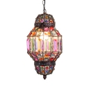 Lantern Bedroom Hanging Lamp Metal Single Light Vintage Pendant Lighting with Colorful Crystal