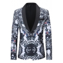 Mens Unique Allover Printed Shawl Collar Single Button Long Sleeve Leisure Tuxedo Blazer