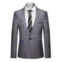 Men's Fashion Jacquard Design Long Sleeve Notched Lapel Collar Single Button Blazer Suit