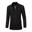 Simple Plain Double Breasted Notched Lapel Split Back Long Sleeve Mens Blazer Sport Coat