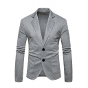 Simple Plain Long Sleeve Double Button Notched Lapel Collar Suit Jacket for Men