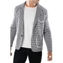 Mens Stylish Houndstooth Printed Notched Lapel Long Sleeve Single Button Slim Fit Suit Set