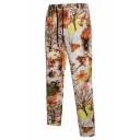 Ethnic Style Floral Tree Printed Drawstring Waist Loose Casual Linen Pants for Men
