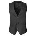 New Stylish Plain Buckle Back Button Down Dress Suit Vest for Men