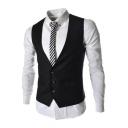 Men's Plain Single Breasted Belt Back Design Slim Fit Suit Vest