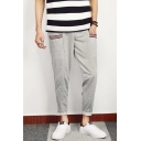 Men's Simple Cool Striped Pockets Patched Grey Cotton Leisure Tapered Pants