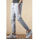 Guys Fashionable Logo Patch Striped Side Drawstring-Waist Casual Sports Tapered Pants