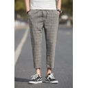 Mens Breathable Comfort Plaid Pattern Drawstring Waist Linen Casual Tapered Pants