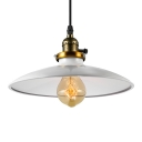 White Metal Shade 1 Light Pendant